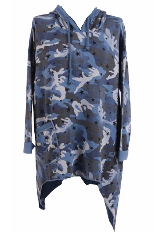 BERNICE Camo Top - Blue