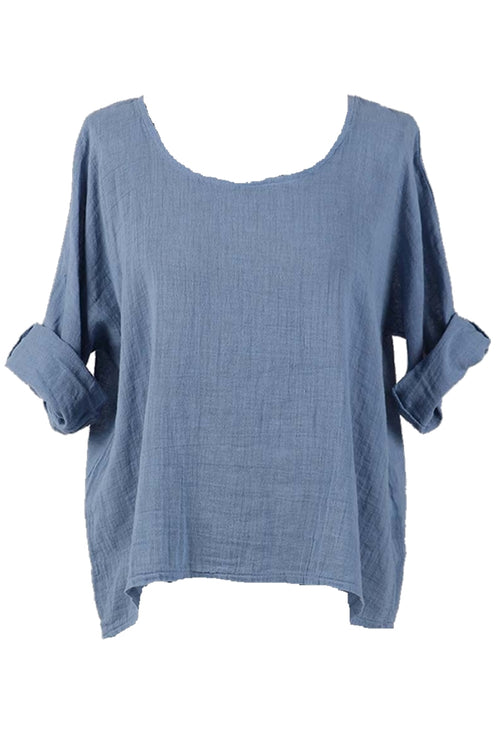 COLLETTE Linen Top - Blue