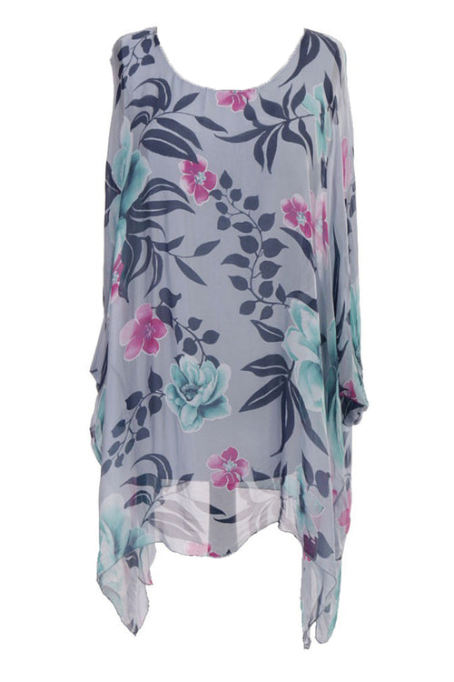 JADA Silk Floral Top - Blue
