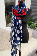 Blue Spot & Stripe Scarf - JC109