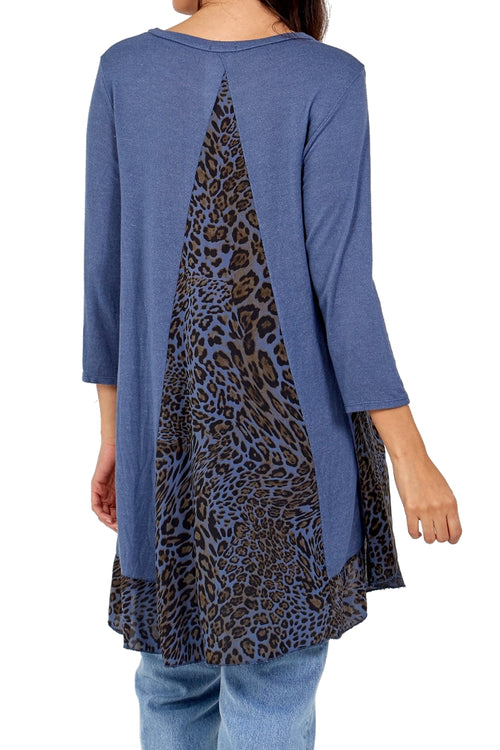JENNA Leopard Top - Blue