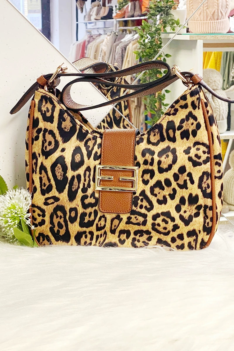 POLLY Leopard Print Bag - Brown