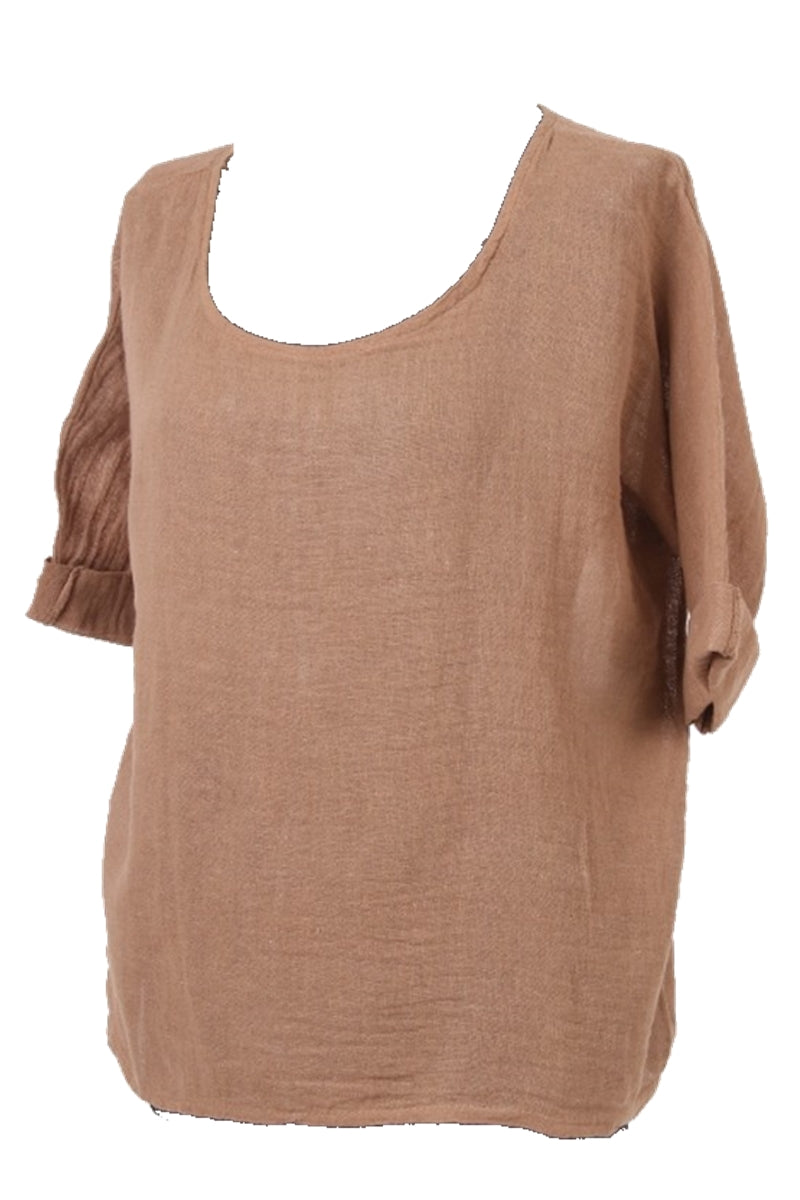 COLLETTE Linen Top - Camel