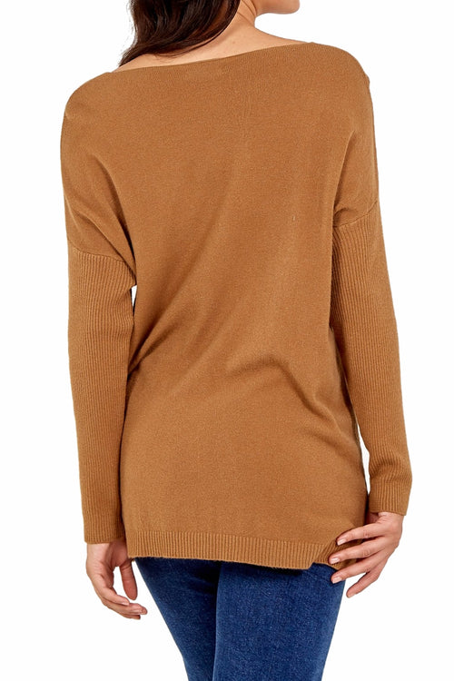 KARA Pocket Top - Camel