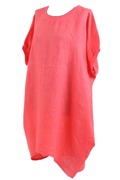 CARYS Linen Top - Coral