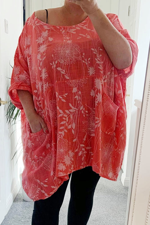 NELLY Floral Top - Coral