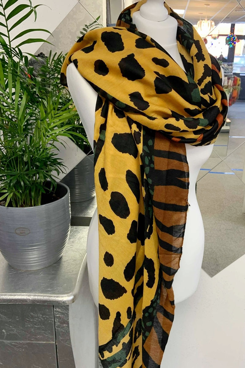 Mustard Jungle Leopard Scarf - F129
