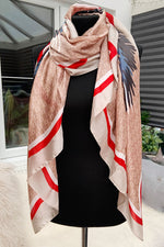 Beige Tiger Head Silk Scarf - F135