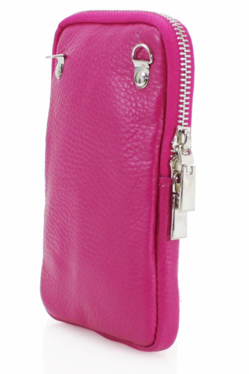 ASHLEY Leather Phone Crossbody Bag - Fuschia