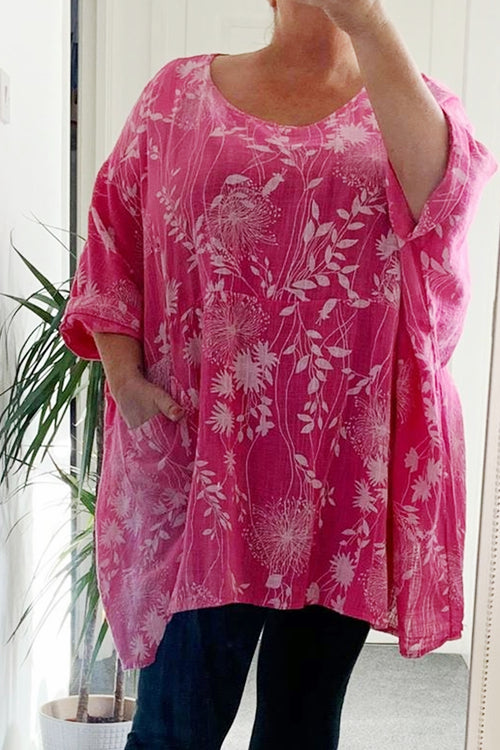 NELLY Floral Top - Fuschia