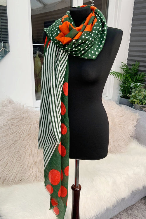 Green Spot & Stripe Scarf - JC109