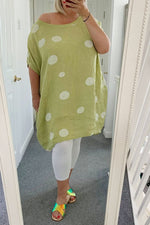 SIAN Spot Linen Dress - Green