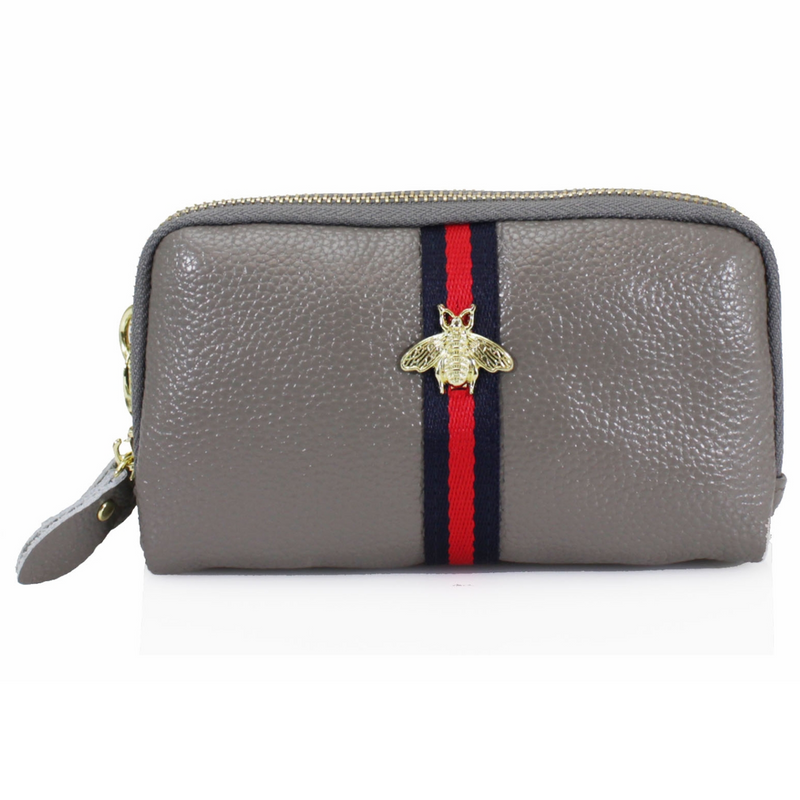 BRONWEN Bee Leather Purse - Grey