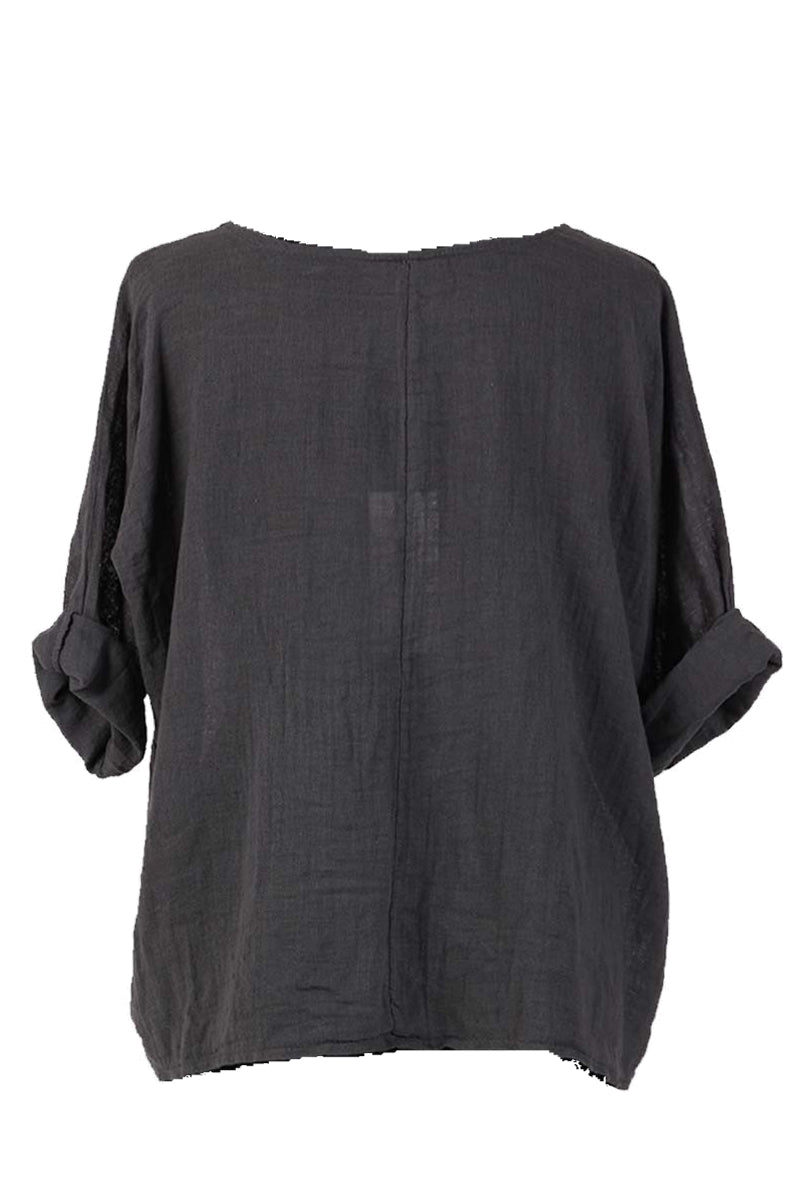 COLLETTE Linen Top - Dark Grey