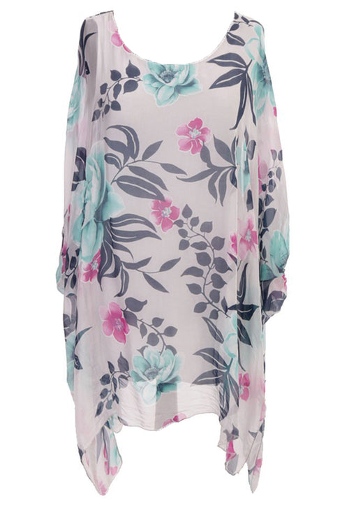 JADA Silk Floral Top - Grey