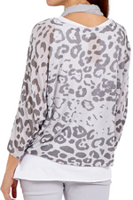 JOANNA Leopard Top - Grey