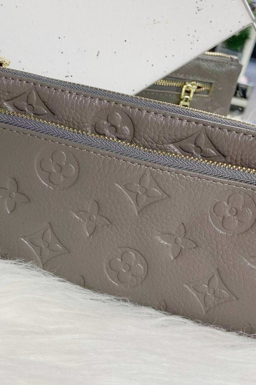 LILY Leather Wristlet Purse - Grey
