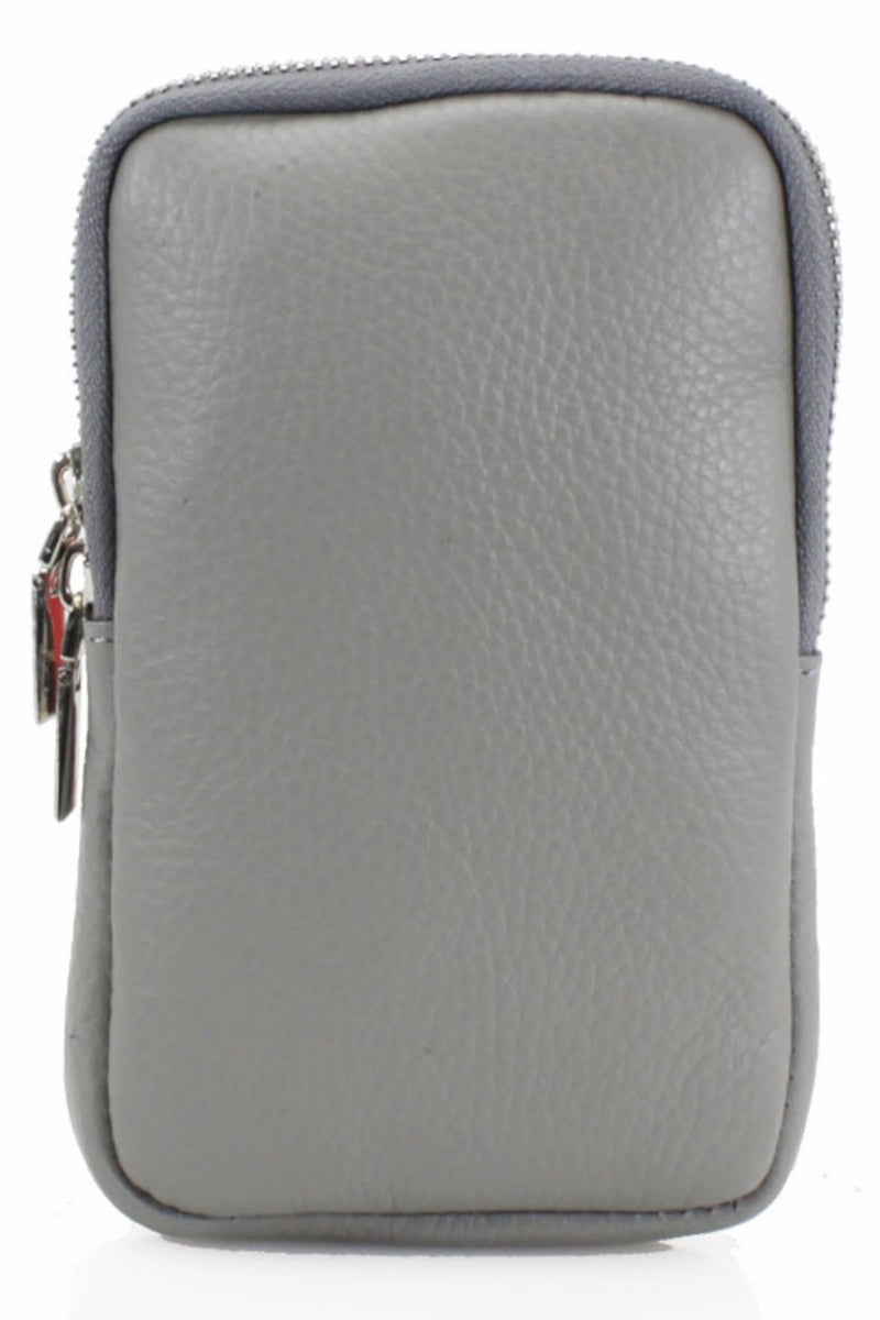 ASHLEY Leather Phone Crossbody Bag - Light Grey