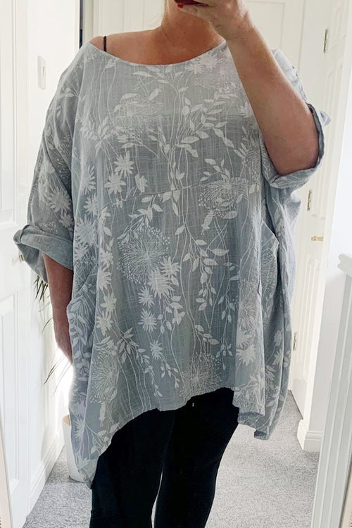 NELLY Floral Top - Grey