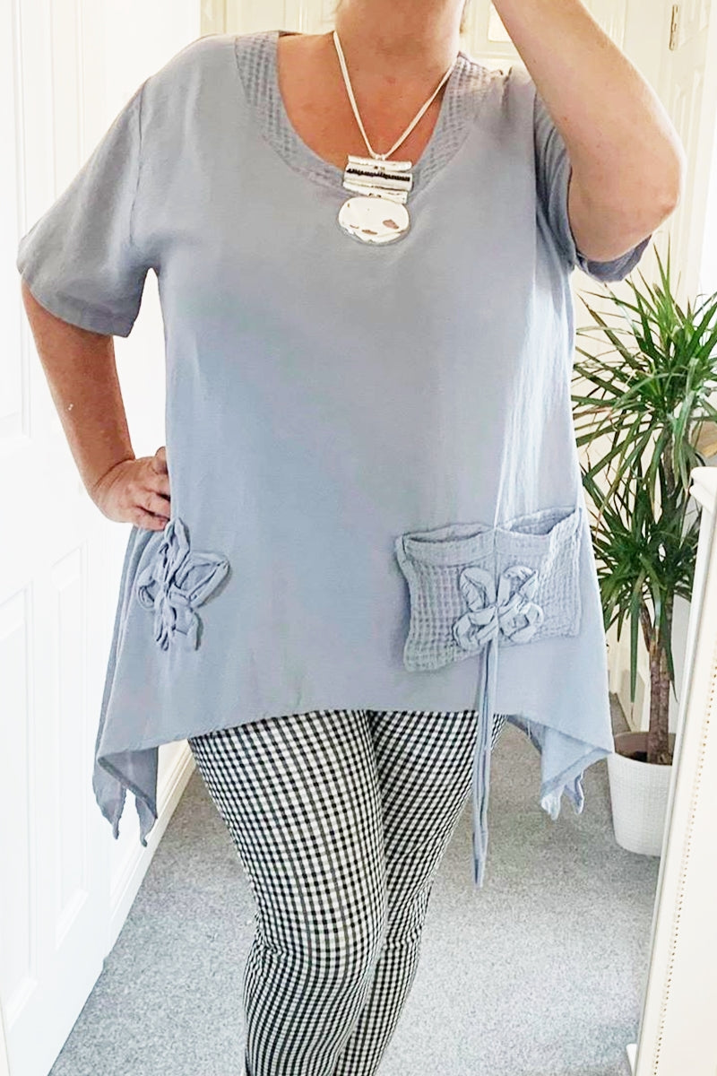NICOLE 3D Linen Top - Grey