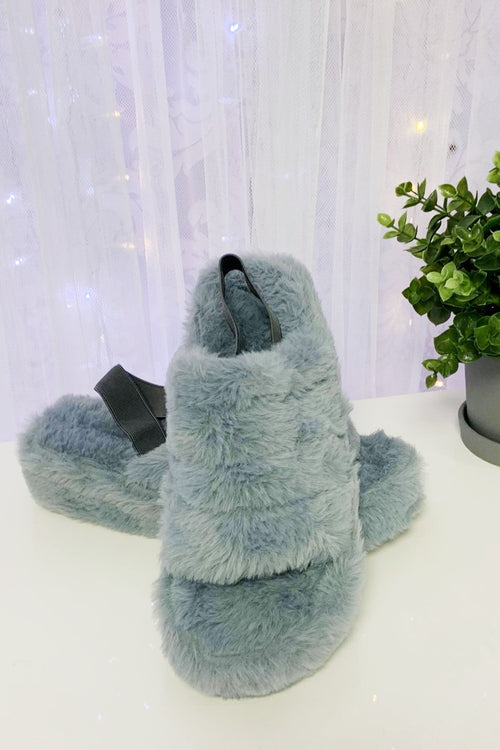 PAULA Fluffy Slide Slipper - Grey