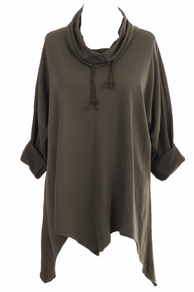 LYDIA Cowl Neck Top - Dark Khaki