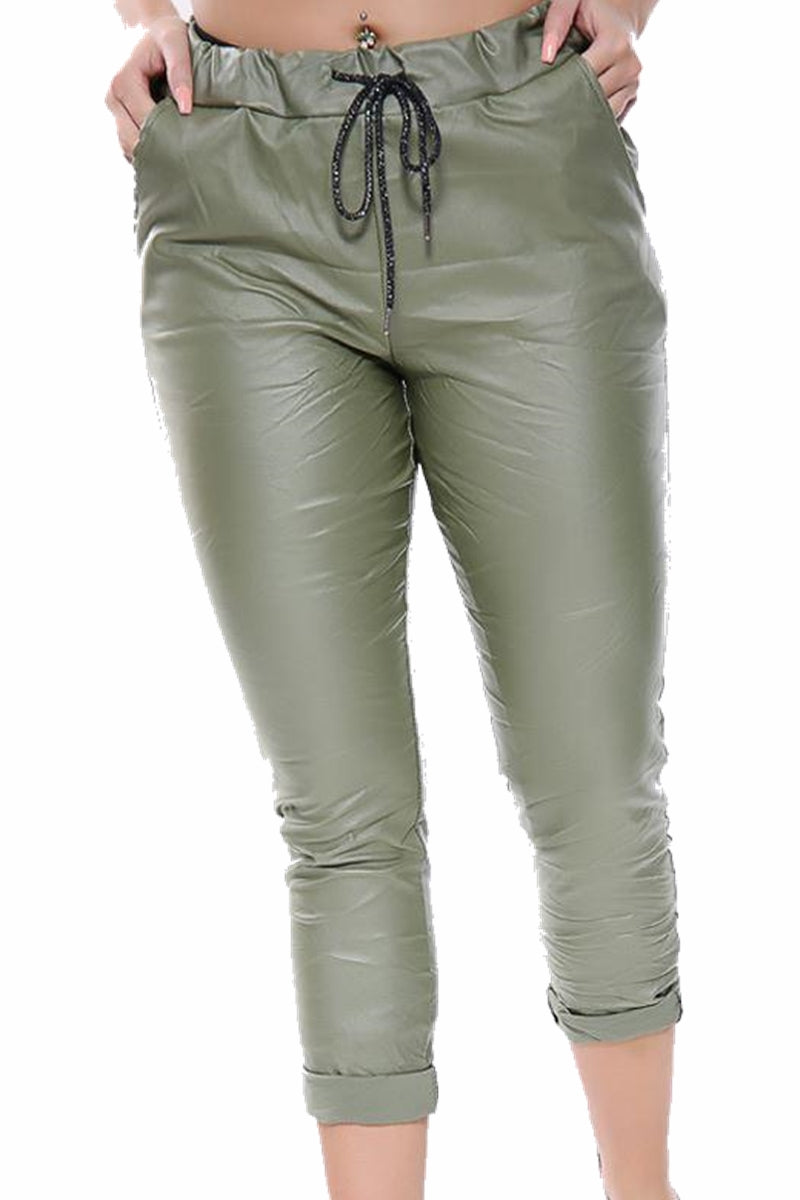 MABEL PU Magic Trousers - Khaki