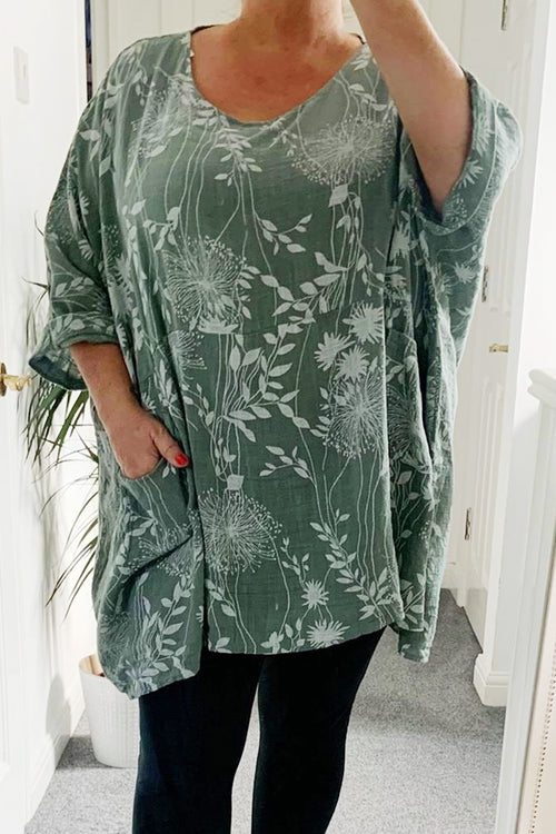 NELLY Floral Top - Khaki