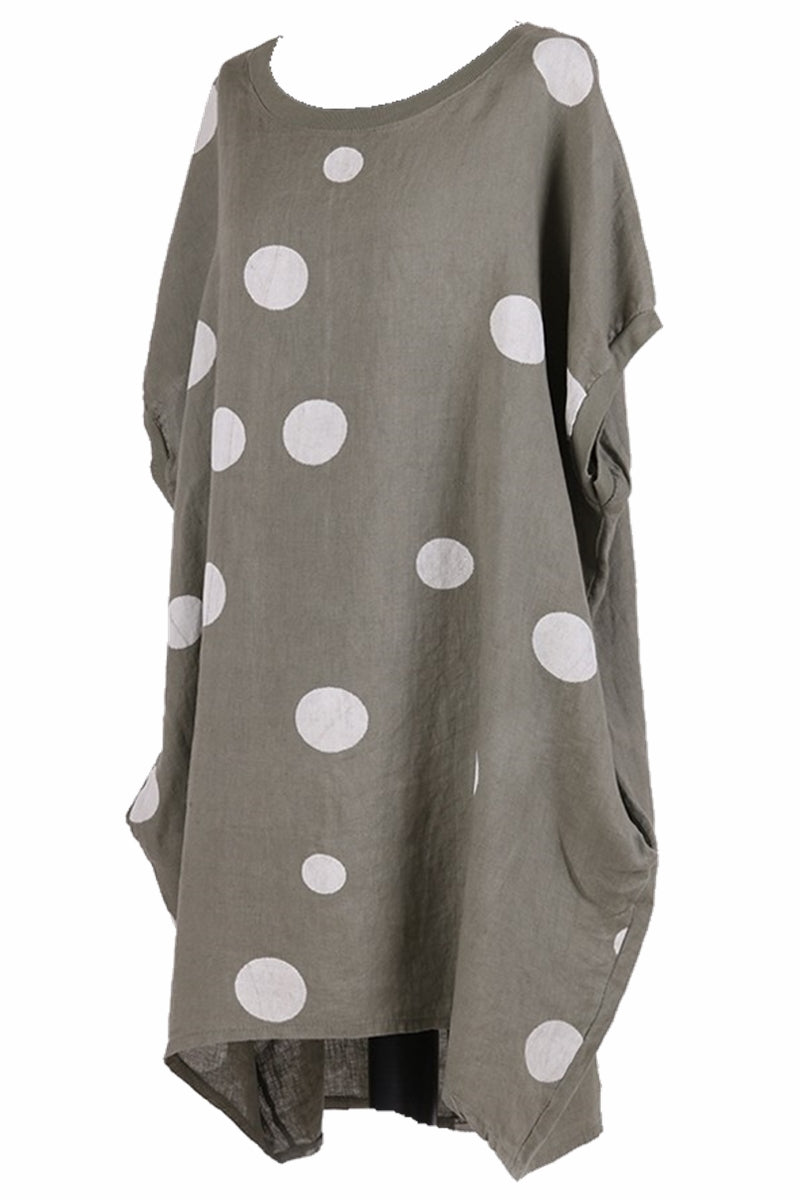 SIAN Spot Linen Dress - Khaki