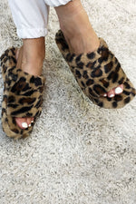 PAULA Fluffy Slide Slipper - Leopard