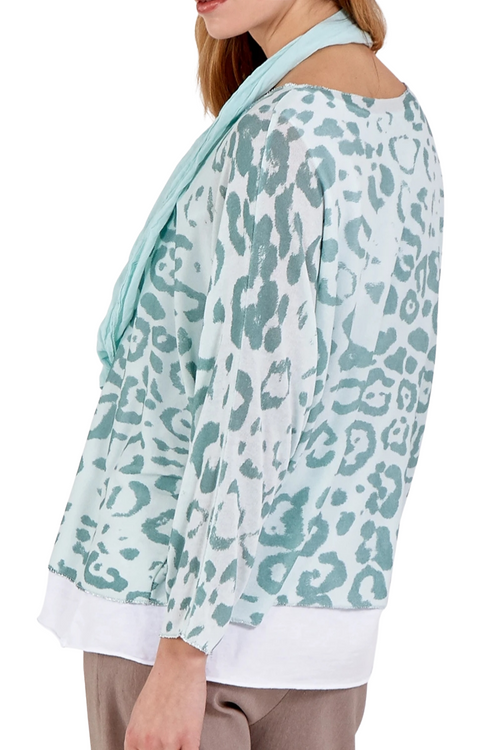 JOANNA Leopard Top - Mint