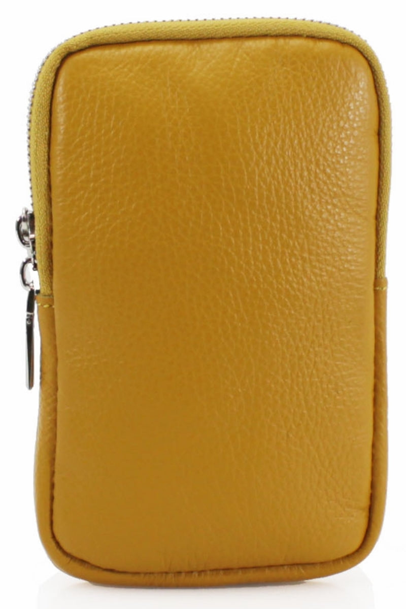 ASHLEY Leather Phone Crossbody Bag - Mustard