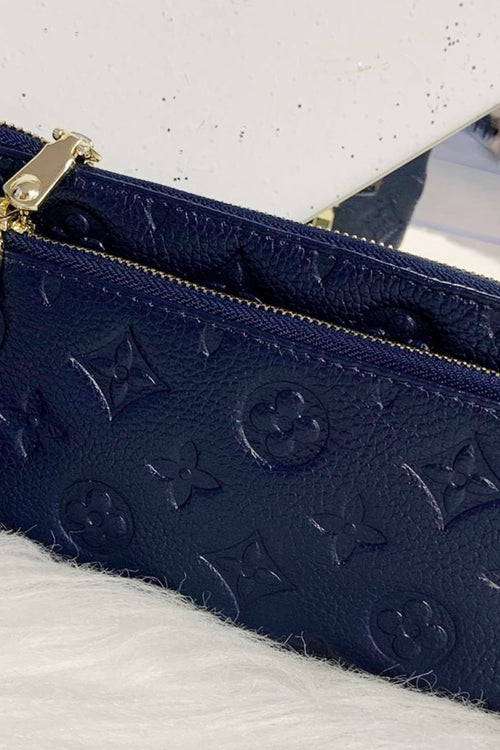 LILY Leather Wristlet Purse - Navy