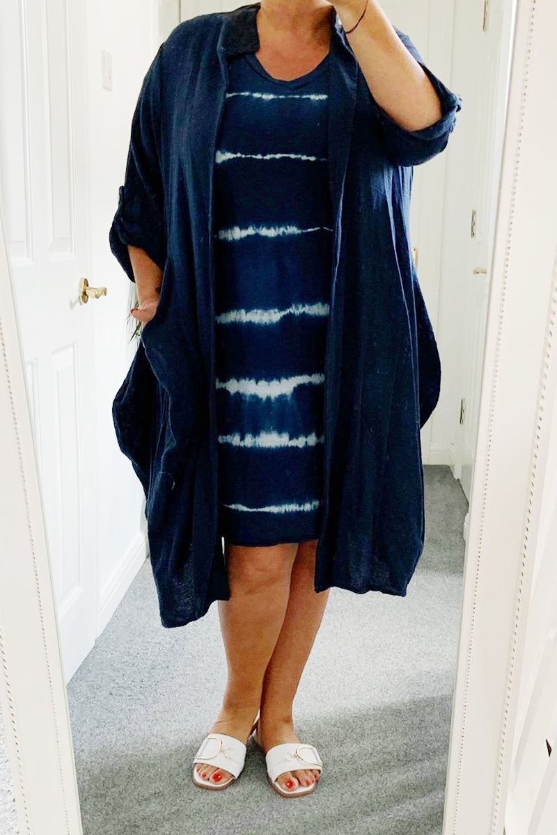 OLIVIA Duster Jacket - Navy