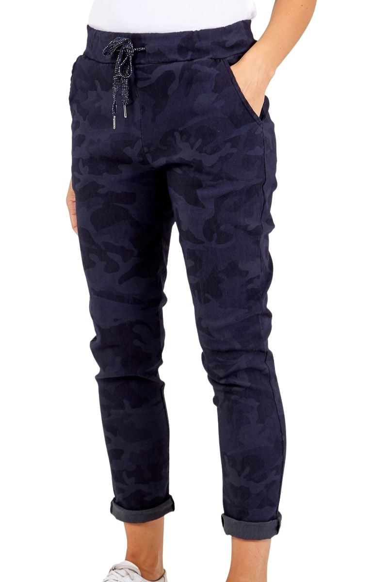 PRISCILLA Camo Magic Trousers - Navy