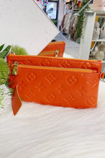 LILY Leather Wristlet Purse - Orange