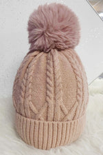 BRENDA Cable Knit Hat - Pink