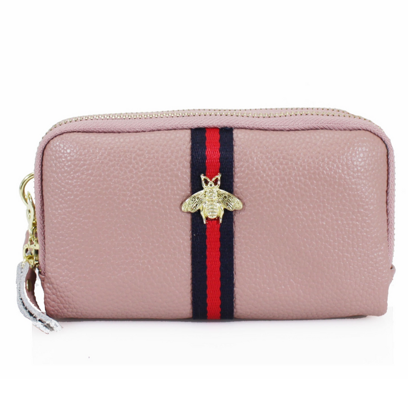 BRONWEN Bee Leather Purse - Pink
