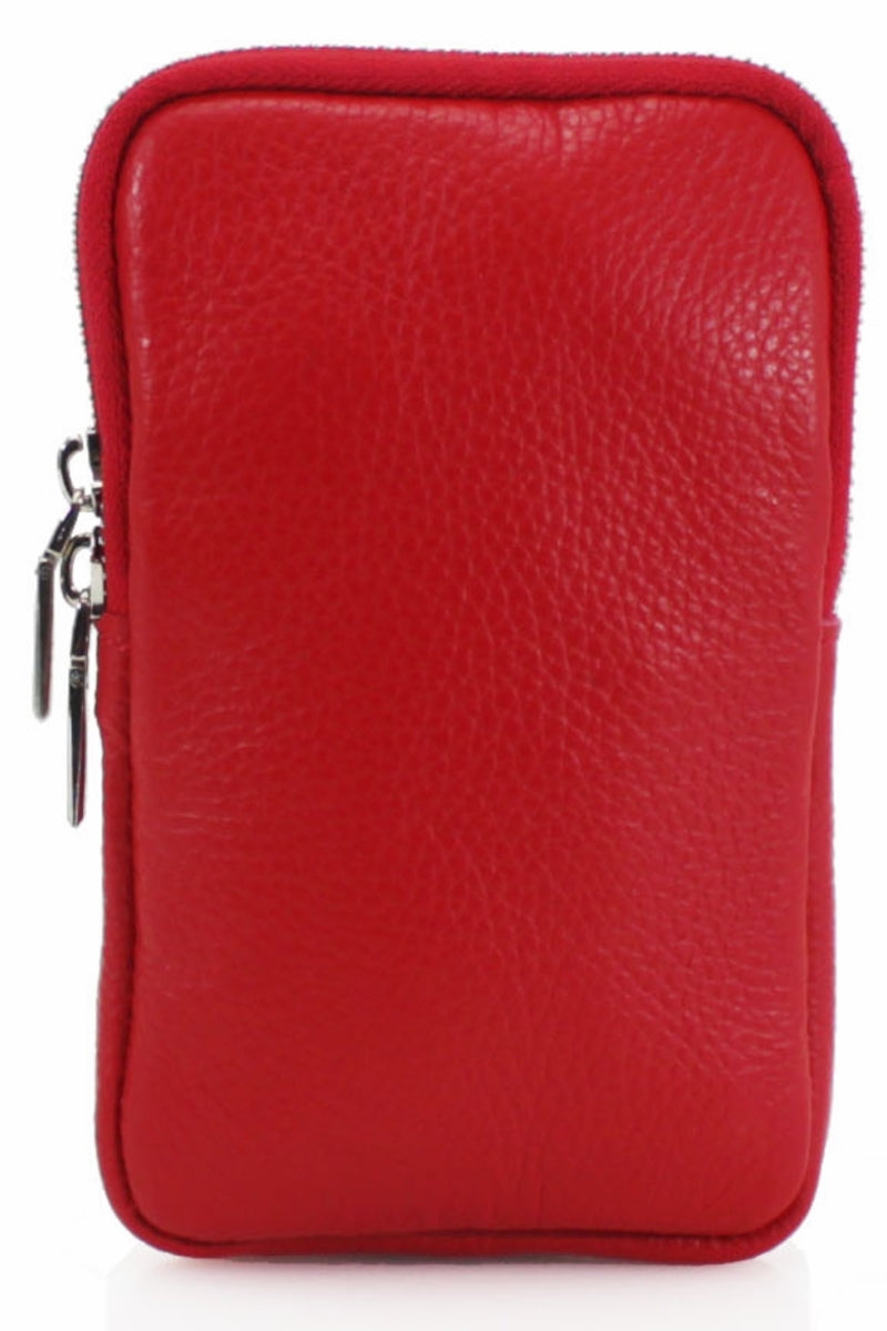 ASHLEY Leather Phone Crossbody Bag - Red