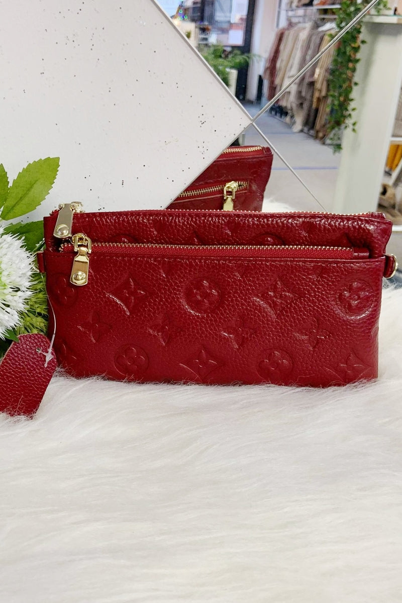 LILY Leather Wristlet Purse - Red