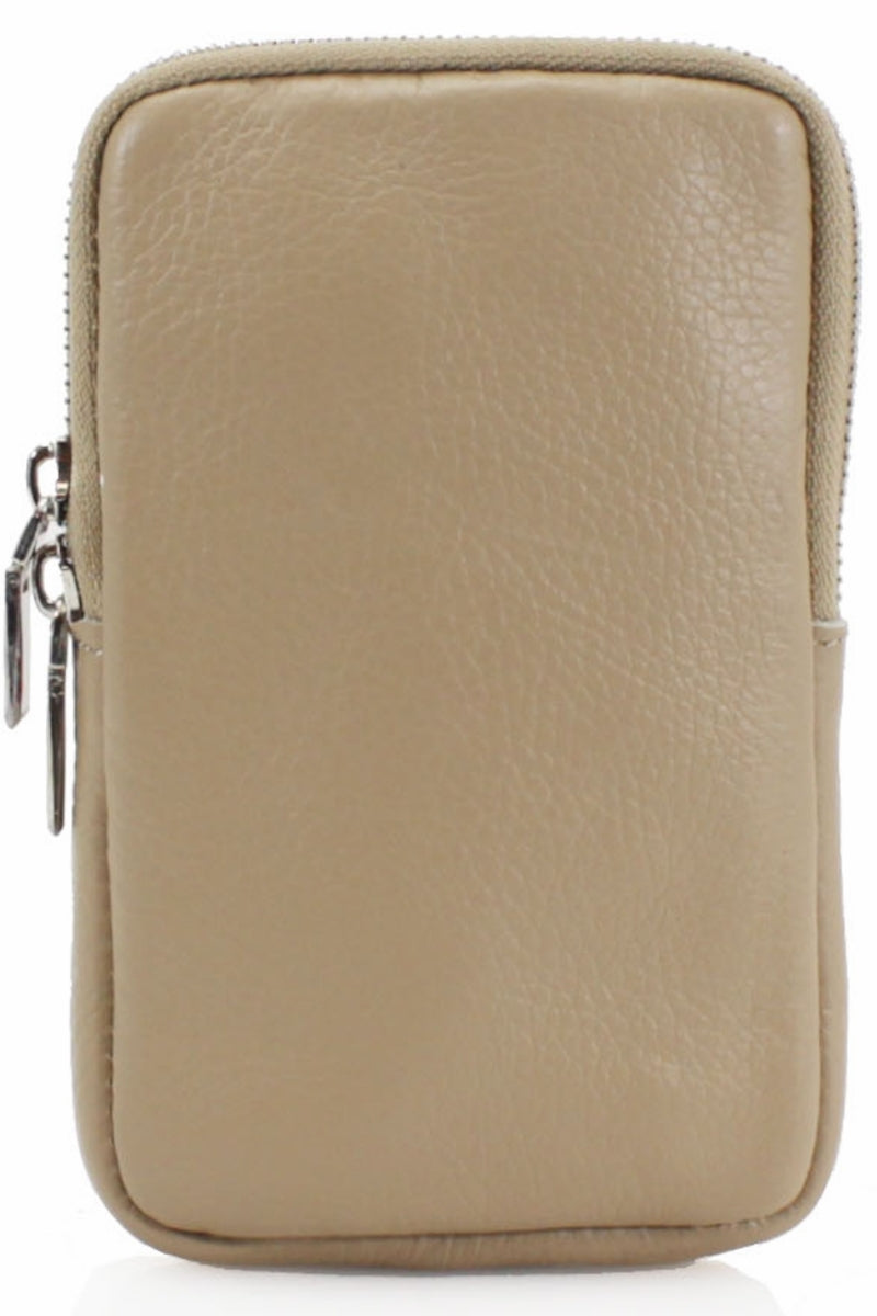 ASHLEY Leather Phone Crossbody Bag - Taupe