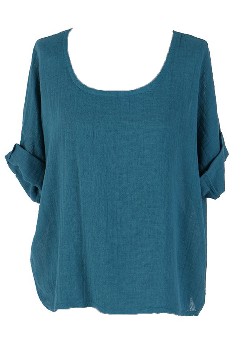 COLLETTE Linen Top - Teal