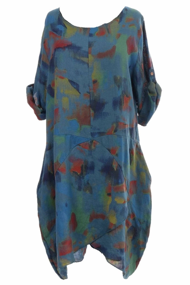 LORRAINE Abstract Dress - Teal