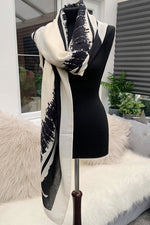 Cream Abstract Scarf - JC108