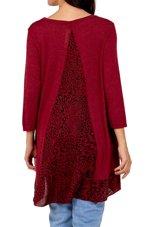 JENNA Leopard Top - Wine