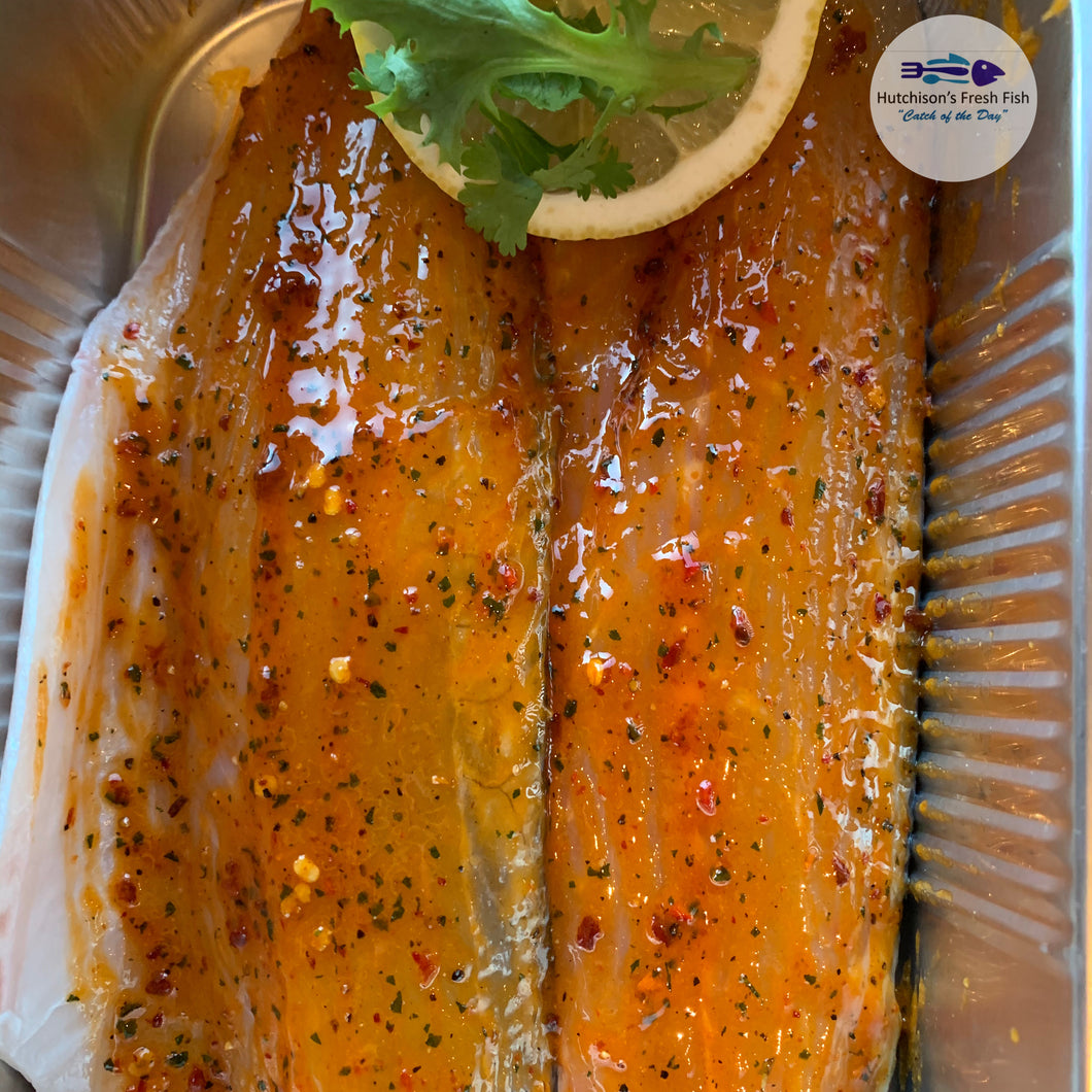 2 Fresh Seabass with Chilli, Ginger and Lemon Glaze