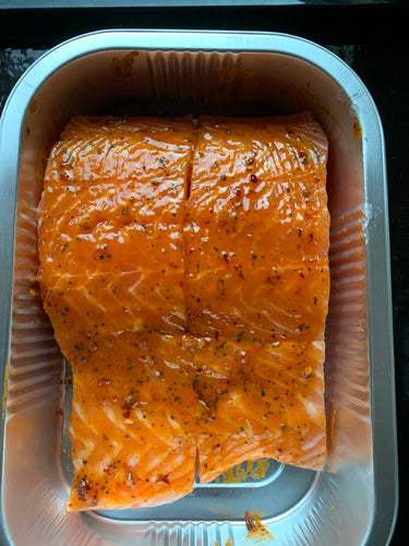 2 large Salmon fillets with a Chilli, Ginger and Lemon glaze.