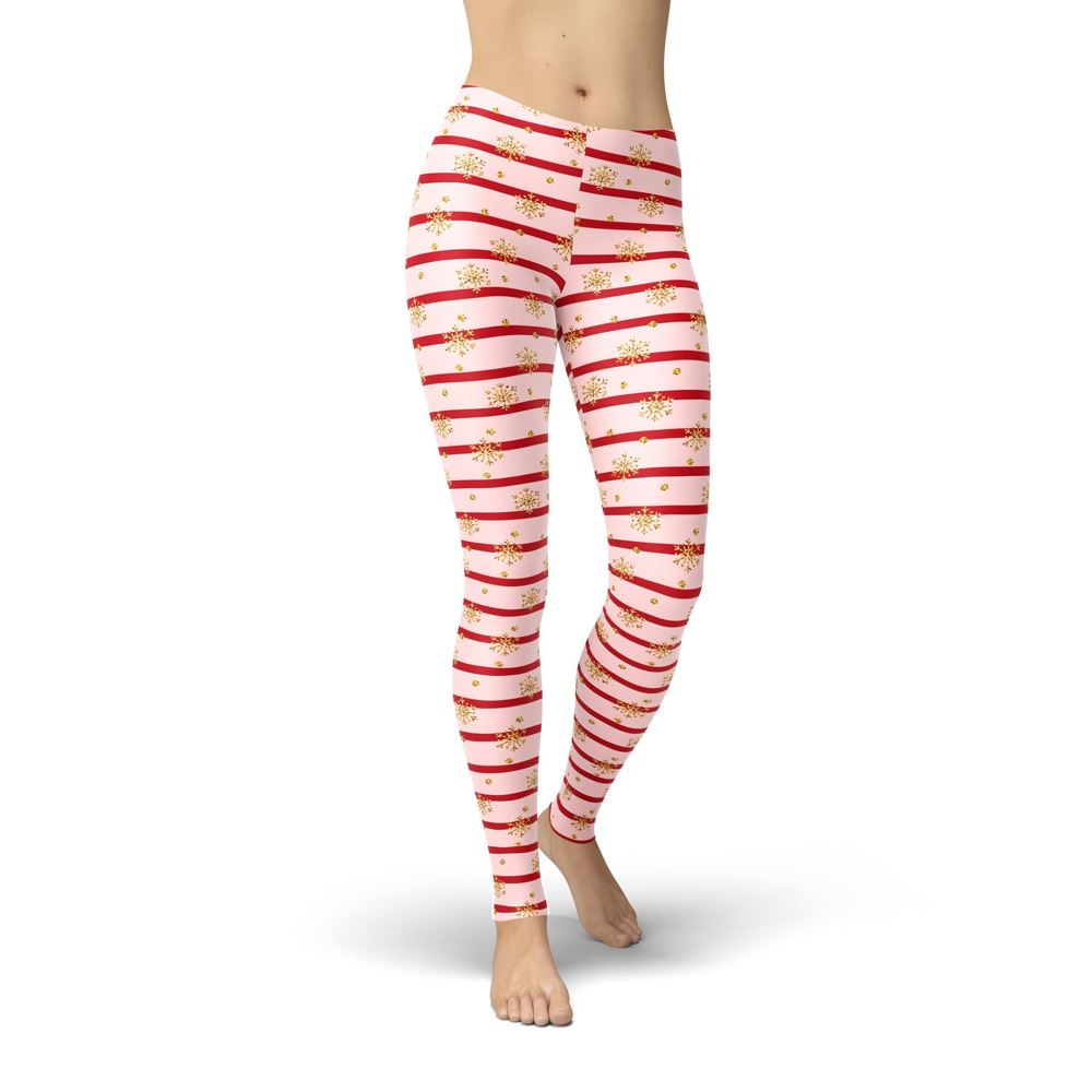 Pink Holiday Stripes Leggings ILoveLeggings.com XS Multi Color