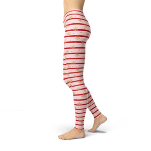 Pink Holiday Stripes Leggings ILoveLeggings.com