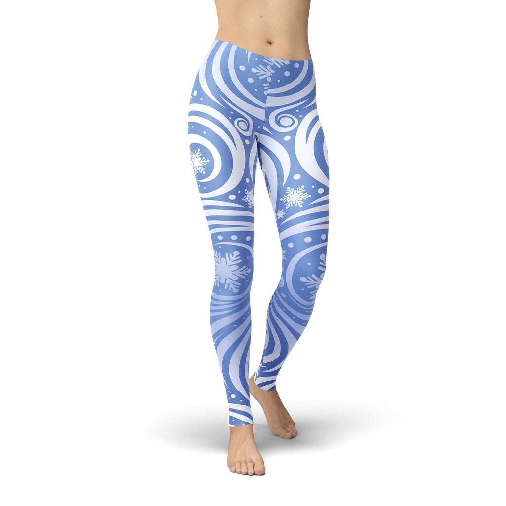 Blue Winter Swirl Leggings Leggings Orange Poppy
